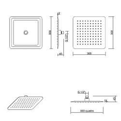 Ponsi Квадратна душ пита неръждаема стомана 300 мм 2