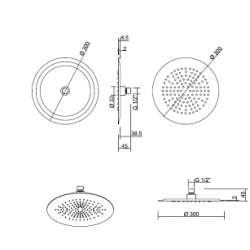 Ponsi Кръгла душ пита 300 мм неръждаема стомана 2