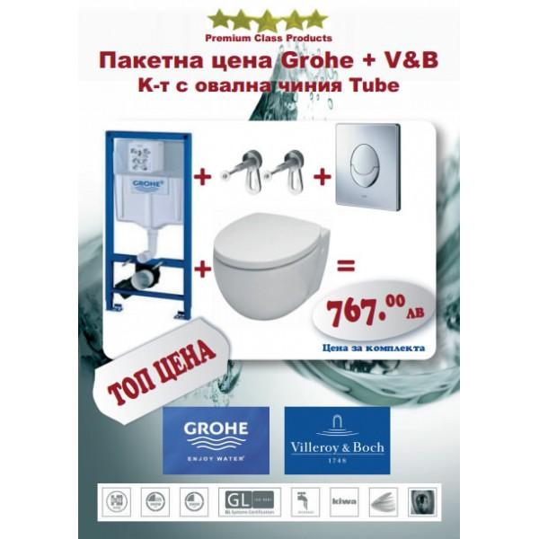 Структура Grohe + WC чиния V&B Tube 38721001+56351001+9M21C101