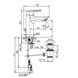 Ideal Standart Tesi Смесител за мивка с метален изпразнител за ниско налягане 2
