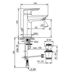 Ideal Standart Tesi Смесител за мивка с метален изпразнител 2
