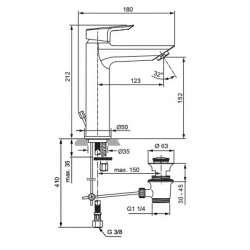 Ideal Standart Tesi Смесител за мивkа GRANDE с метален изпразнител 2