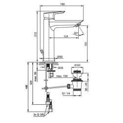 Ideal Standart Tesi Смесител за мивkа GRANDE с метален изпразнител за ниско налягане 2