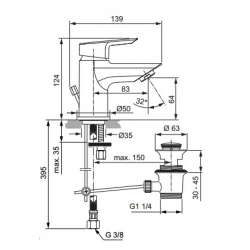 Ideal Standart Tesi Смесител за мивkа PICCOLO с метален изпразнител 2