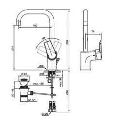 Ideal Standart Tesi Grande Смесител за мивkа с висок тръбен чучур 2