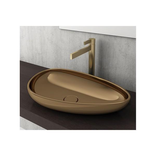 Bocchi Etna 58см за монтаж върху плот златно гланц без пробит отвор за смесител 1114 402 0125
