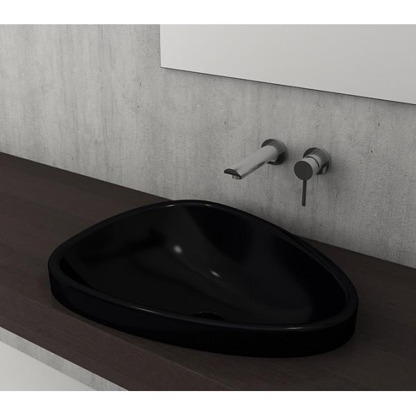 Bocchi Etna 58см за полувграждане в плот черен гланц без пробит отвор за смесител 1112 005 0125