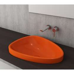 Bocchi Etna 58см за полувграждане в плот оранжев гланц без пробит отвор за смесител 1112 012 0125