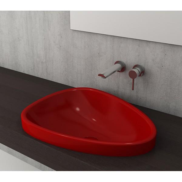 Bocchi Etna 58см за полувграждане в плот червен гланц без пробит отвор за смесител 1112 019 0125