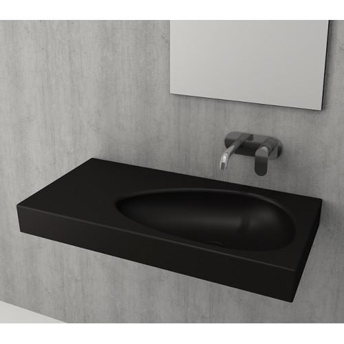 Bocchi Etna 90см умивалник с плот черен мат без пробит отвор за смесител