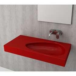 Bocchi Etna 90см умивалник с плот червен гланц без пробит отвор за смесител