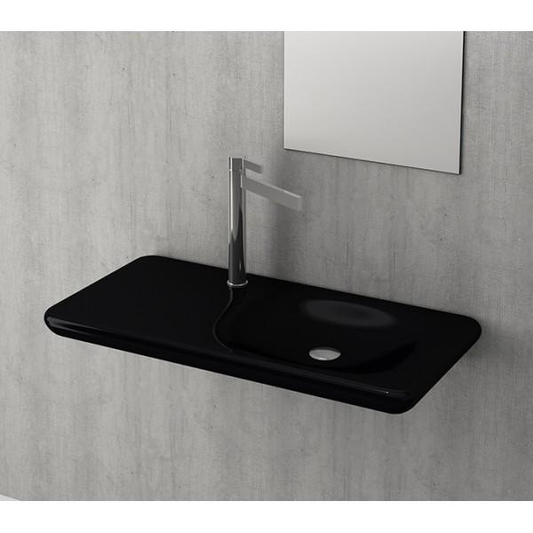 Bocchi Fenice 900мм черен гланц мивка с плот без пробит отвор за смесител 1165 005 0125