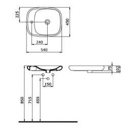 Bocchi Fenice 54см умивалник купа с отвор за смесител син сапфир гланц 2