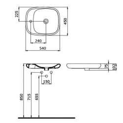 Bocchi Fenice 54см умивалник купа с отвор за смесител антрацит мат 2