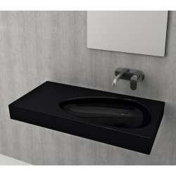 Bocchi Etna 90см умивалник с плот с отвор за смесител черен гланц 1115 005 0126