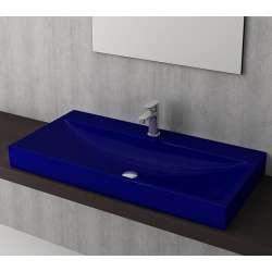 Bocchi Scala Arch 100см умивалник върху плот син сапфир гланц с пробит отвор за смесител