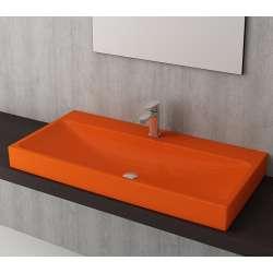 Bocchi Scala Arch 100см умивалник върху плот оранжев гланц с пробит отвор за смесител