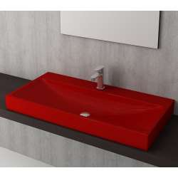 Bocchi Scala Arch 100см умивалник върху плот червен гланц с пробит отвор за смесител