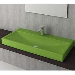 Bocchi Scala Arch 100см умивалник върху плот зелен гланц с пробит отвор за смесител