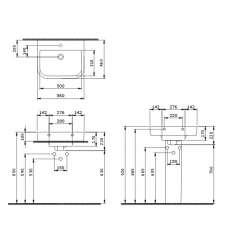 Bocchi Scala Tech умивалник 56см за стена или плот бял мат 2