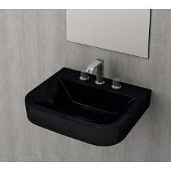 Bocchi Scala Tech умивалник 55см за стена или плот с 3 отвора за смесител черен гланц 1175 005 0127
