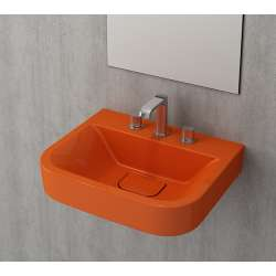 Bocchi Scala Tech умивалник 55см за стена или плот с 3 отвора за смесител оранжев гланц 1175 012 0127