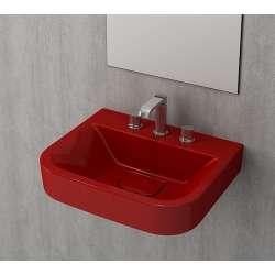 Bocchi Scala Tech умивалник 55см за стена или плот с 3 отвора за смесител червен ганц 1175 019 0127