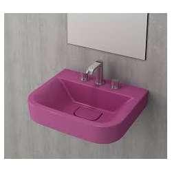 Bocchi Scala Tech умивалник 55см за стена или плот с 3 отвора за смесител виолетов гланц 1175 023 0127