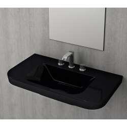 Bocchi Scala Tech умивалник 85см за стена или плот с 3 отвора за смесител черен гланц 1231 005 0127