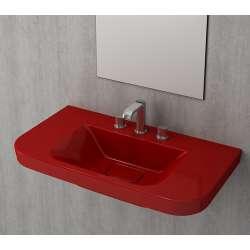 Bocchi Scala Tech умивалник 85см за стена или плот с 3 отвора за смесител червен гланц 1231 019 0127