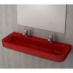 Bocchi Scala Tech умивалник 120см за стена или плот червен гланц с пробит отвор за смесител