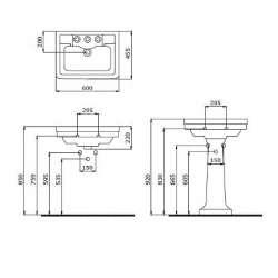 Bocchi Siena 60см умивалник за стена черен гланц с 3 пробити отвор за смесител 2