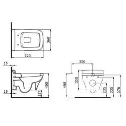 Bocchi Scala Arch конзолна WC бисквита гланц напълно скрит монтаж 2