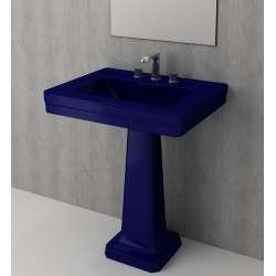 Bocchi Siena 70см умивалник за стена с пиадестал син сапфир гланц с 3 пробити отвора за смесител 1040 010 0127 + 1042 010 0320