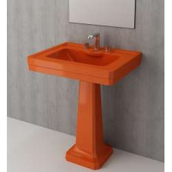 Bocchi Siena 70см умивалник за стена с пиадестал оранжев гланц с 3 пробити отвора за смесител 1040 012 0127 + 1042 012 0320