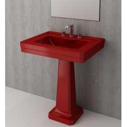 Bocchi Siena 70см умивалник за стена с пиадестал червен гланц с 3 пробити отвора за смесител 1040 019 0127 + 1042 019 0320