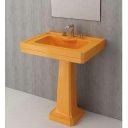 Bocchi Siena 70см умивалник за стена с пиадестал мандарина гланц с 3 пробити отвора за смесител 1040 021 0127 + 1042 021 0320