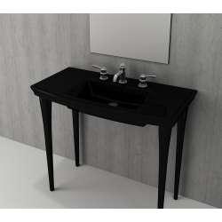 Bocchi Lavita 100см черен гланц мивка с плот с 3 пробити отвора за смесител