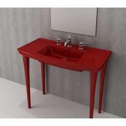 Bocchi Lavita 100см червен гланц мивка с плот с 3 пробити отвора за смесител