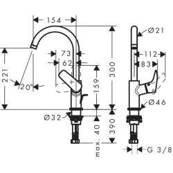 Hansgrohe Logis 210 смесител за мивка с въртящ се накрайник с изпразнител 2