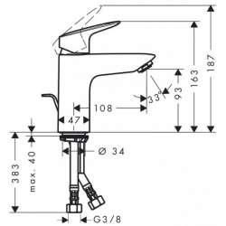 Hansgrohe Logis 100 смесител за мивка с метален изпразнител 2