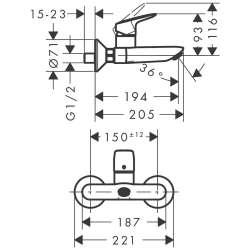 Hansgrohe Logis стенен едноръкохватков смесител за мивка 2