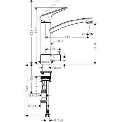 Hansgrohe Logis 220 смесител за кухня със спирателен кран 2