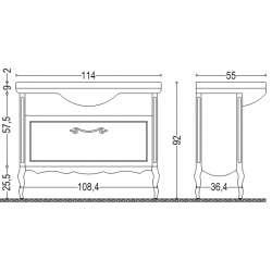 Visota Diana долен шкаф масив с чекмедже с плавно прибиране 114см 2