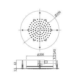 Bossini OKI Flat 290mm душ пита за полувграждане в таван 2