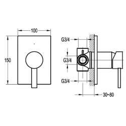 Bergsee Пикасо едноръкохватков четирипътен смесител за вграждане 2