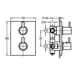 Bergsee Пикасо термостатен смесител вграден за вана/душ с четирипътен превключвател 2