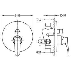 Bergsee Белла едноръкохватков четирипътен смесител за вграждане 2