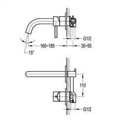 Bergsee Аполо едноръкохватков смесител с лят чучур за вграждане, мивка / вана 2