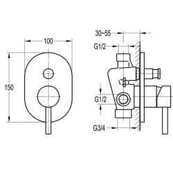 Bergsee Аполо едноръкохватков четирипътен смесител за вграждане 2